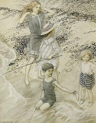 Four Children At The Seashore Print by Arthur Rackham
