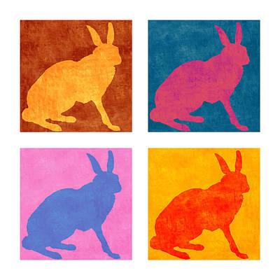 Rabbit Digital Art - Four Colorful Rabbits by Carol Leigh