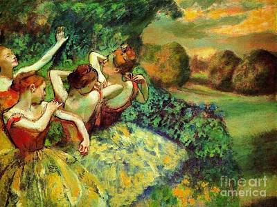 Ballet Painting - Four Dancers by Pg Reproductions