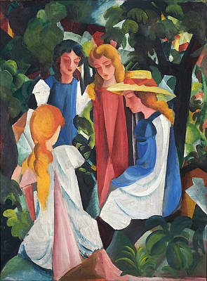 Blue And Red Painting - Four Girls by August Macke