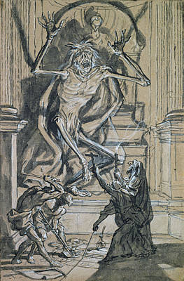 Four Grave Robbers Awaken A Ghost Print by Joseph Werner