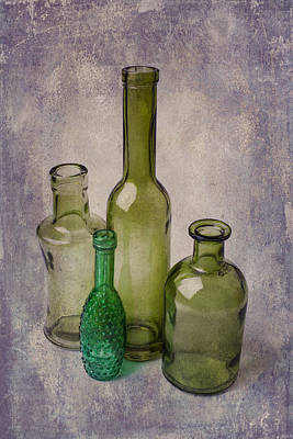 Four Green Bottles Print by Garry Gay