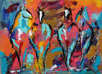 Painting - Four In A Row Horse 27 2014 by Laurie Pace