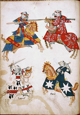 Four Knights Jousting Print by British Library