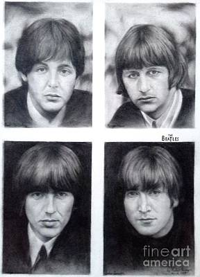 Ringo Starr Drawing - Four Lads Who Shook The World - The Beatles by Richard John Holden RA