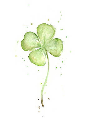 Watercolor Painting - Four Leaf Clover Lucky Charm by Olga Shvartsur