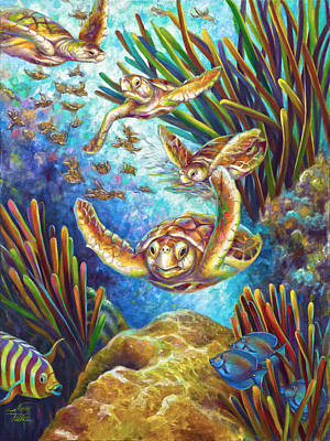 Brain Painting - Four Loggerhead Turtles by Nancy Tilles