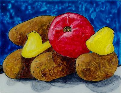 Four Potatoes Two Peeps And A Tomato Original by Phil Strang