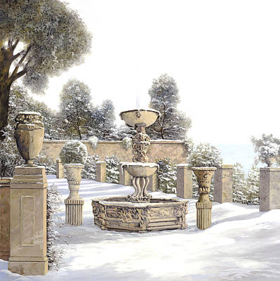 Four Painting - four seasons-winter on lake Como by Guido Borelli