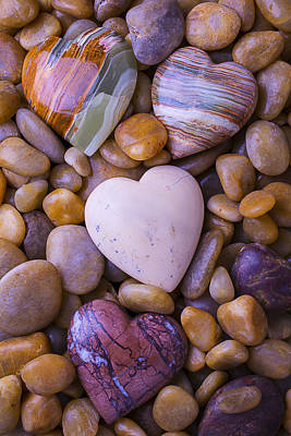 Heart Shaped Rock Photograph - Four Stone Hearts by Garry Gay
