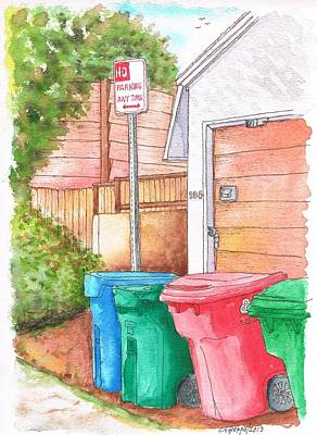 Venice Beach Painting - Four Trash Cans In Venice Beach - California by Carlos G Groppa