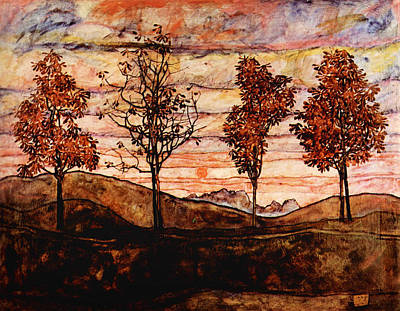Horizontal Painting - Four Trees by Celestial Images