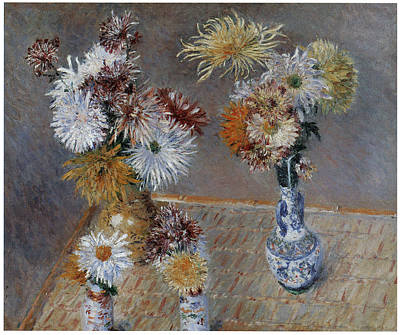 Mums Painting - Four Vases Of Chrysanthemums by Gustave Caillebotte