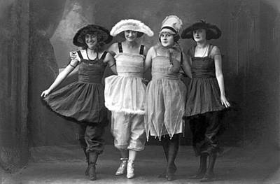 Stage Theater Photograph - Four Women On Vaudeville Stage by -