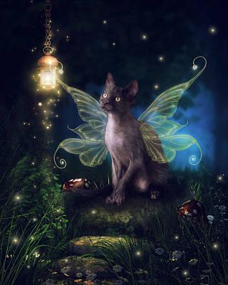 Faery Digital Art - Fourth Faery Kitty by Brittney Gobble