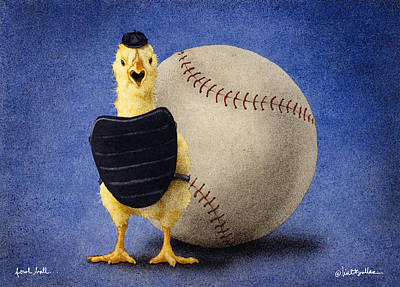 Baseball Painting - Fowl Ball... by Will Bullas