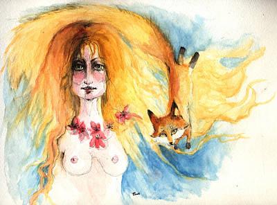 Red Foxes Drawing - Fox Girl by Angel  Tarantella
