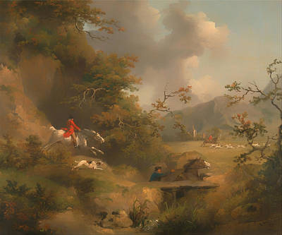 Fox Hunting In Hilly Country Print by Mountain Dreams