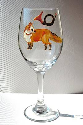 Hand Painted Wine Glass Glass Art - Fox Hunting On Glass by Pauline Ross