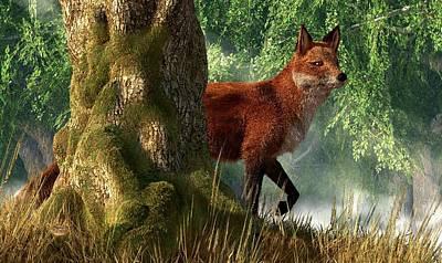 Vixen Digital Art - Fox In A Forest by Daniel Eskridge