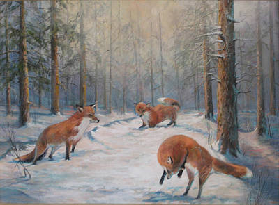 Donna Tucker Painting - Forest Games by Donna Tucker