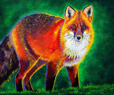 Red Fox Painting - Foxfire by Teshia Art