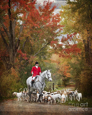 Foxhunting Autumn Colours Print by Heather Swan