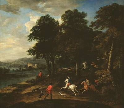Foxhunting In Wooded Country  Print by Peter Tillemans