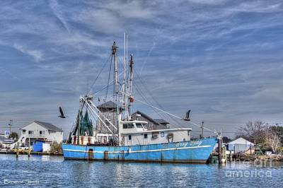 Shrimp Boat At Port Print by Benanne Stiens