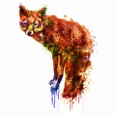 Fox Mixed Media - Foxy Lady Watercolor by Marian Voicu