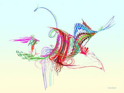 Fractal - Flying Bird Print by Susan Savad