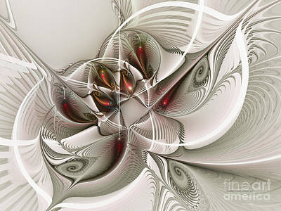 White Fractal Digital Art - Fractal With Interior View by Karin Kuhlmann
