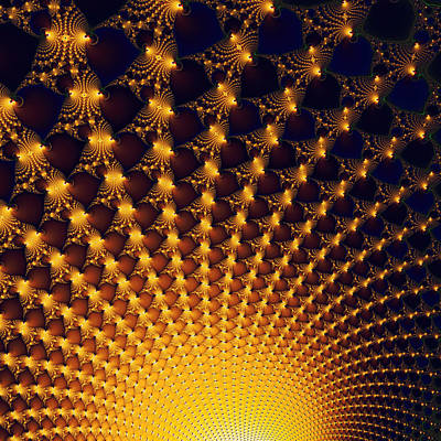 Fractal Yellow Golden And Black Firework Print by Matthias Hauser
