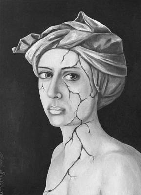 Depression Painting - Fractured Identity Bw by Leah Saulnier The Painting Maniac