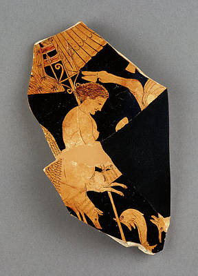 Fury Drawing - Fragment Of An Apulian Red-figure Bell Krater Black Fury by Litz Collection