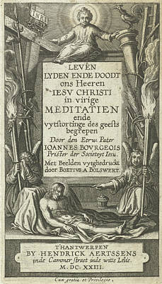 Bo Drawing - Frame For Title With Christ Child And Christ Dead And Two by Bo?tius Adamsz. Bolswert
