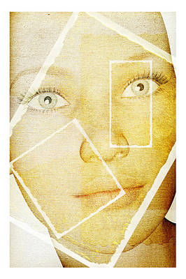Rectangles Digital Art - Framed Woman by David Ridley