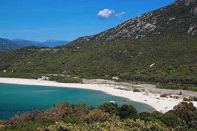 France, Corsica, Portigliolo, Beach View Print by Walter Bibikow
