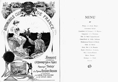 Argent Painting - France Menu, 1904 by Granger