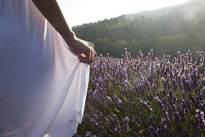 France, Provence. Woman In Lavender Print by Tips Images