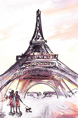 Dog Walking Painting - France Sketches Walking To The Eiffel Tower by Irina Sztukowski
