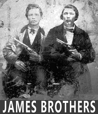 Gangs Digital Art - Frank And Jesse James Outlaws by Daniel Hagerman