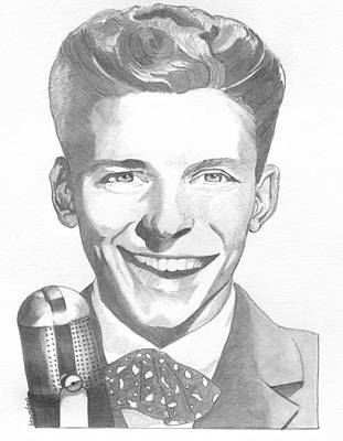 Ratpack Drawing - Frank Sinatra by Brian Condron