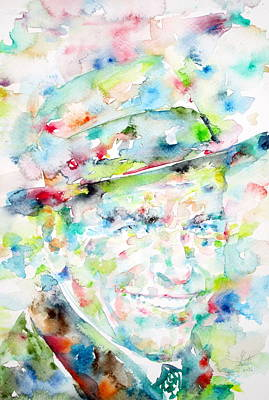 Frank Sinatra - Watercolor Portrait.1 Print by Fabrizio Cassetta