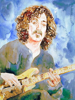 Frank Zappa Playing The Guitar Watercolor Portrait Print by Fabrizio Cassetta