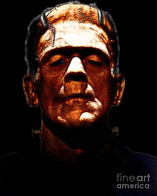 Haunted Digital Art - Frankenstein - Black by Wingsdomain Art and Photography
