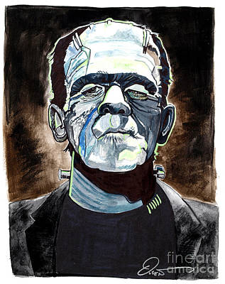Frankenstein Drawing - Frankenstein Boris Karloff by Dave Olsen