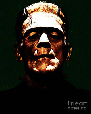 Haunted Digital Art - Frankenstein - Dark by Wingsdomain Art and Photography