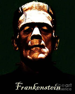Haunted Digital Art - Frankenstein - Dark - With Text by Wingsdomain Art and Photography