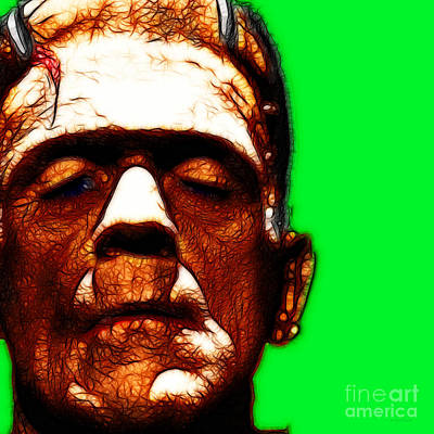 Haunted Digital Art - Frankenstein Green Square by Wingsdomain Art and Photography